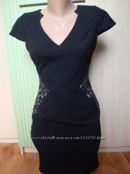 Платье  сарафан  офисный  классика с гипюром миди