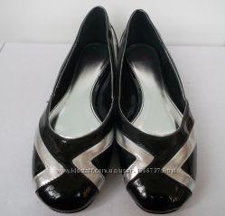 Новые чёрно-серебристые балетки, размер 36, 39, стелька 23 см и 25 см
