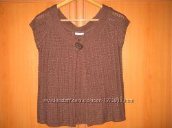 Женская кофта коричневая, ажурная