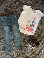 Джинсики, футболка, мокасины 4-5 лет