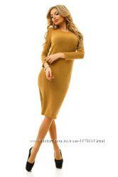 Платье трикотажное миди с длинным рукавом цвет горчица