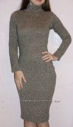 трикотажное теплое платье-гольф миди кофейного цвета с воротником стойка