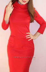 Платье, красное платье, платье миди, платье с рукавом, платье теплое