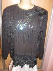 Блуза нарядная с вышивкой бисером и паетками.