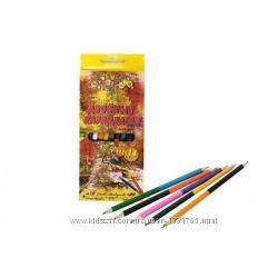 Карандаши цветные двосторонние 12 карандашей, 24 цвета, Мультяшки