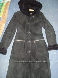 Женская натуральная дубленка пальто, шуба, размер S-M, черного цвета