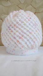 новая женская шапка зима зимняя ручная работа голубая белая