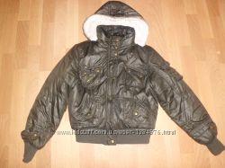 Зимняя женская очень теплая коричневая куртка на синтопоне короткая