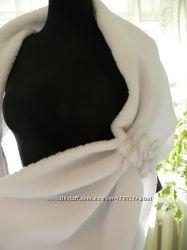 Накидка палантин свадебная белая. украшена