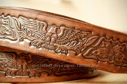 мужской ремень из натуральной кожи ручной работы, с тиснением и покраской.