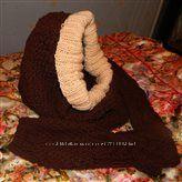 шапка-хомут, хомут, митенки или варежки Шоколад