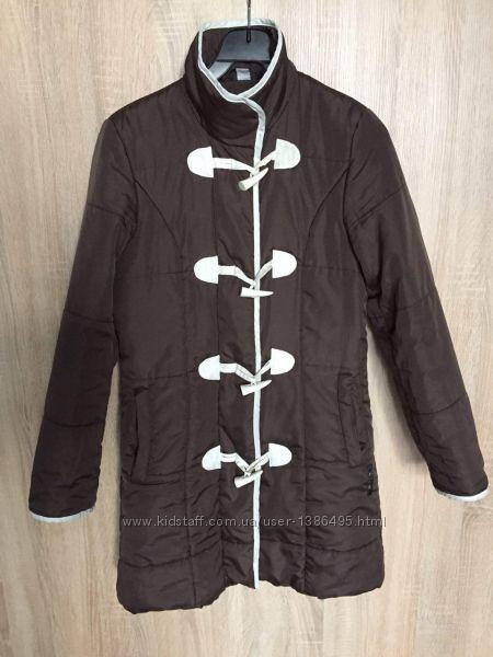 Демисезонная удлиненная куртка пальто на молнии и пуговицах с воротником ст