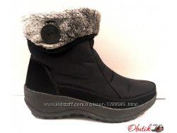 Дутики-ботинки женские зимние на меху черные на замочке KF0421