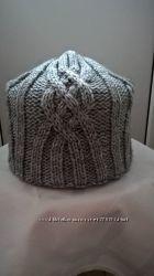 шапка женская вязанная двойная расцветки на фото