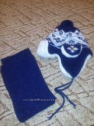 шапка с шарфом на мальчика