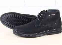 Мужские ботинки натур. нубук и мех зима черные 40, 41, 42, 43, 44, 45р