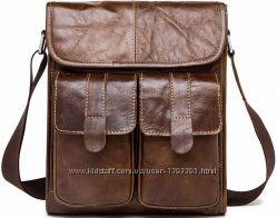 Мужская кожаная сумка-мессенджер с двумя карманами
