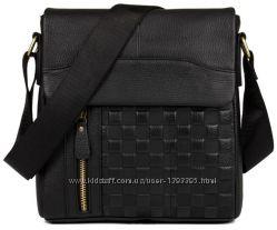 Мужская кожаная черная сумка-мессенджер