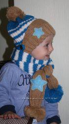 Зимняя детская шапка с шарфиком