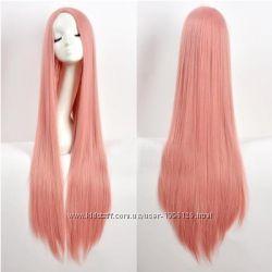 Парик прямой ровный длина 100см красный блонд черный розовый белый