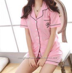 Пижама комплект шорты рубашка короткий рукав розовый трикотаж