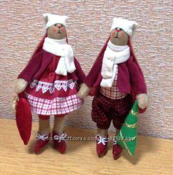 куклы ручной работы, тильды, рождественские зайцы, петухи, коты,