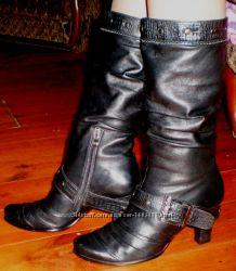 Женские кожаные осенние сапоги