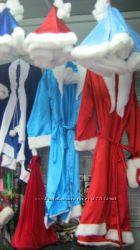 Дед Мороз и Снегурочка  взрослые, борода, мешок, коса, парики, атласный, вилюровы
