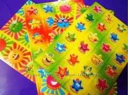 Детские яркие наклейки Солнце и Звезды
