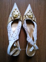 Женские туфли босоножки ERLINKA Белые Бежевые Размер 39 Каблуки шпильки