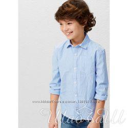 Голубая хлопковая рубашка Mango