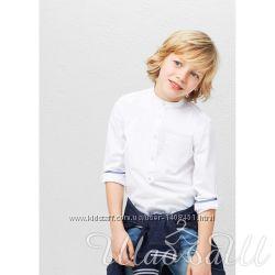 Рубашка  белая хлопковая без воротника Mango