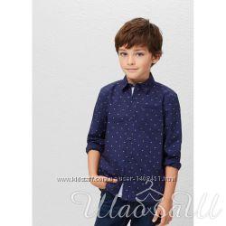 Рубашка темно-синяя хлопковая Mango