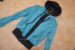 Деми курточка бирюзового цвета, короткая