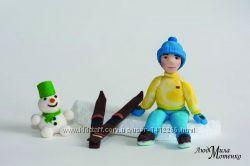 Лыжник и снеговичок