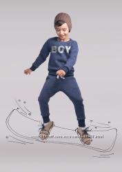 Детский утеплённый джемпер Бой синий с белыми штрихами для мальчика