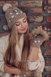 Зимняя шапка Беж