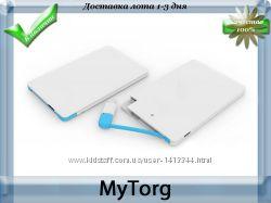 Ультратонкий портативный power bank credit card, зарядка от микро usb