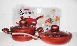Набор кастрюля Sacher 20 см и сковорода с антипригарным покрытием красные