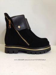 женские осеннОсенние и  зимние ботинки из натуральной кожи и замша