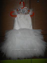Белое платье, обруч, шубка размеры от 98до120см Прокат Киев