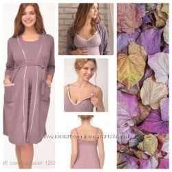 ХалатGrace и ночная рубашка Be elegant . Комплект  для беременных и кормящ