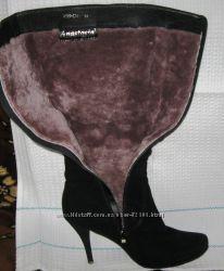 зимние замшевые сапоги на меху