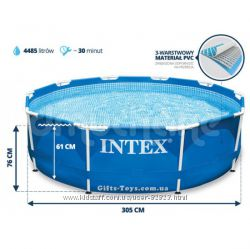 Intex 28200, 28202. Каркасные бассейны Metal Frame Pool. Intex. net. ua