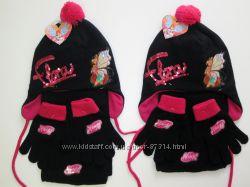Шикарный комплект на флисе шапка, шарф, перчатки с Винкс по закупке