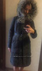 пуховое пальто 36 размер чёрное с чернобуркой